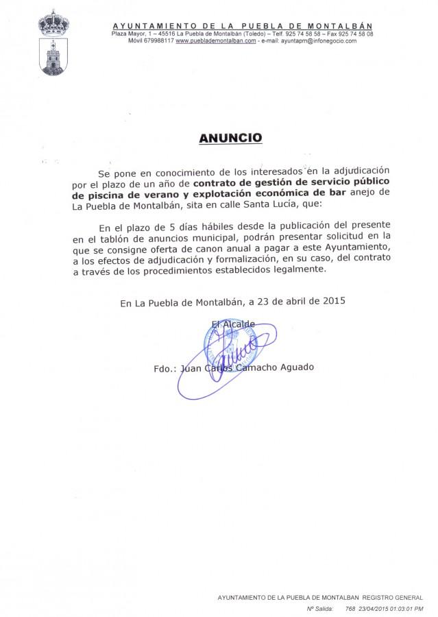 Anuncio contrato gestión piscina 2015