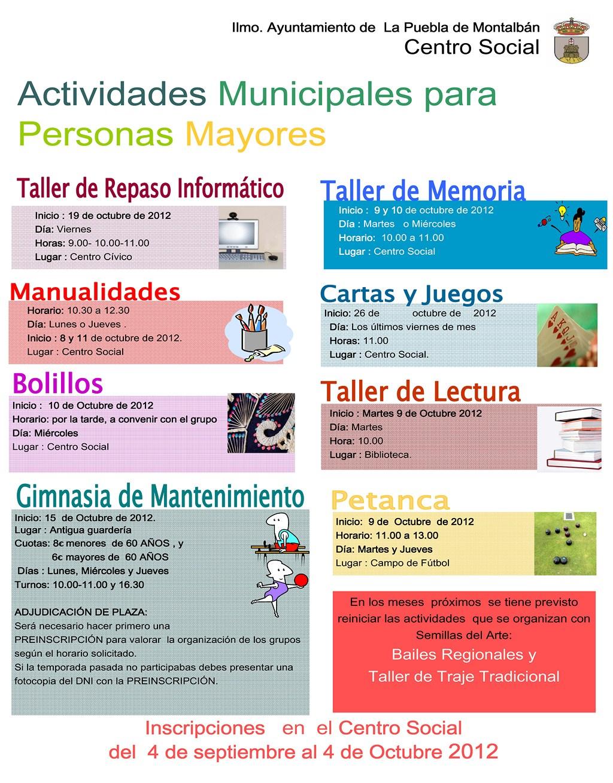 Talleres y actividades para personas mayores 2012 2013 for Sillon alto para personas mayores